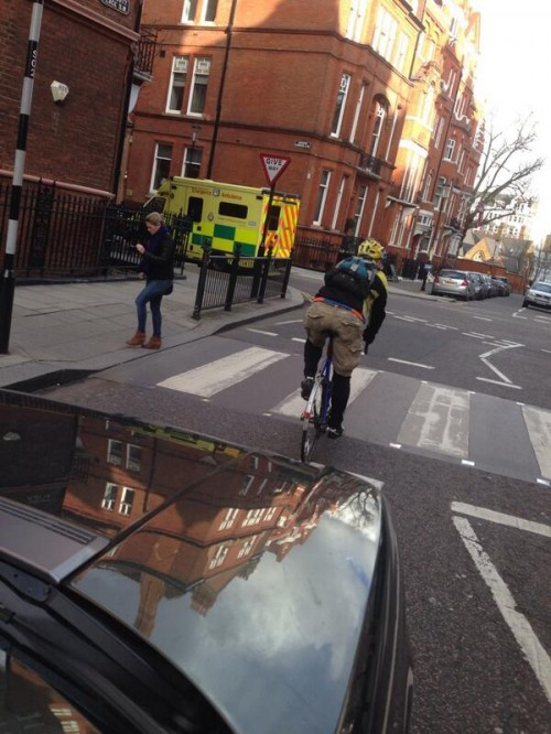 Clarkson's infamou picture of cyclist in middle of road. If I was turning right, I'd do the same. I hope he wasn't using mobile phone while driving.