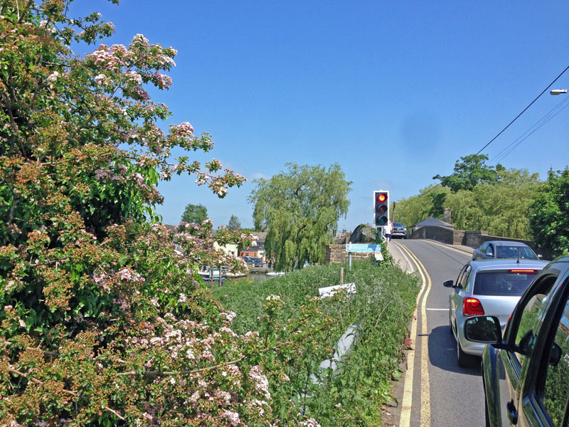 Lechlade or Faringdon. Stuck at traffic lights across the River Thames so I took a quick photo